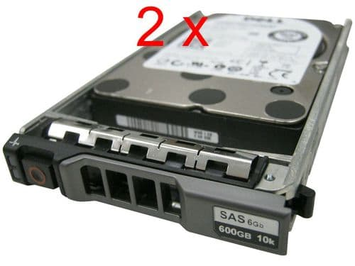 "2 x Dell 600GB 10K SAS 2.5"" SAS 6Gb/s HDD 5TFDD for Dell PowerEdge Server +caddy"